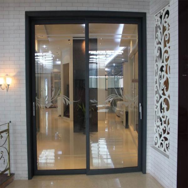 Aluminum Sliding Decorative Interior Door Fireproof Glass