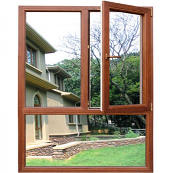French aluminum wooden windows with fixed glass sliding for Aluminum replacement windows