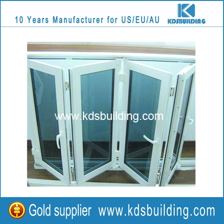 Commercial aluminium folding window of white profile and blue glass online