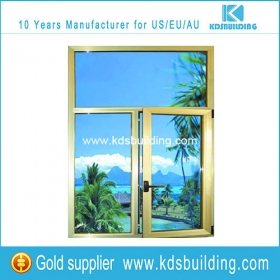 Aluminium fixed and casement windows with yellow color aluminum profile and clear glass online